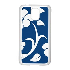 Blue Hawaiian Flower Floral Samsung Galaxy S5 Case (white)