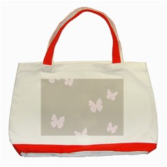 Butterfly Silhouette Organic Prints Linen Metallic Synthetic Wall Pink Classic Tote Bag (red)
