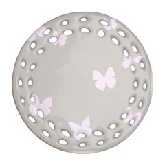 Butterfly Silhouette Organic Prints Linen Metallic Synthetic Wall Pink Ornament (round Filigree)