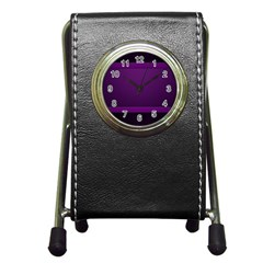 Board Purple Line Pen Holder Desk Clocks