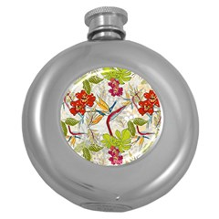 Flower Floral Red Green Tropical Round Hip Flask (5 Oz)