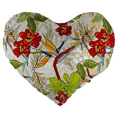 Flower Floral Red Green Tropical Large 19  Premium Flano Heart Shape Cushions