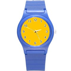 Amber Solid Color  Round Plastic Sport Watch (s)