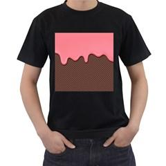 Ice Cream Pink Choholate Plaid Chevron Men s T Shirt (black)