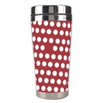 Pink White Polka Dots Stainless Steel Travel Tumblers Center