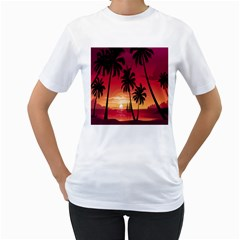 Nature Palm Trees Beach Sea Boat Sun Font Sunset Fabric Women s T Shirt (white)