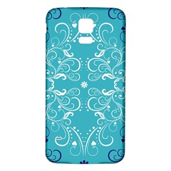 Repeatable Flower Leaf Blue Samsung Galaxy S5 Back Case (white)