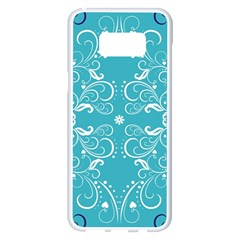 Repeatable Flower Leaf Blue Samsung Galaxy S8 Plus White Seamless Case