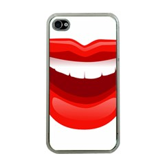 Smile Lips Transparent Red Sexy Apple Iphone 4 Case (clear)