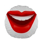Smile Lips Transparent Red Sexy Standard 15  Premium Flano Round Cushions Back