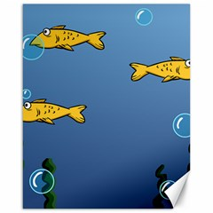 Water Bubbles Fish Seaworld Blue Canvas 16  X 20