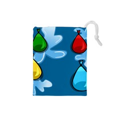 Water Balloon Blue Red Green Yellow Spot Drawstring Pouches (small)