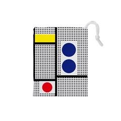 Watermark Circle Polka Dots Black Red Yellow Plaid Drawstring Pouches (small)