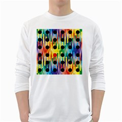 Watermark Circles Squares Polka Dots Rainbow Plaid White Long Sleeve T Shirts