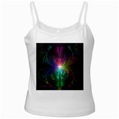 Anodized Rainbow Eyes And Metallic Fractal Flares White Spaghetti Tank