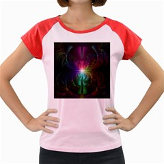Anodized Rainbow Eyes And Metallic Fractal Flares Women s Cap Sleeve T Shirt