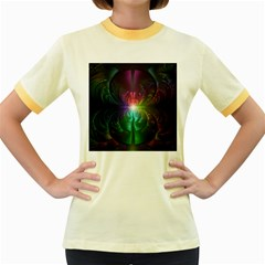 Anodized Rainbow Eyes And Metallic Fractal Flares Women s Fitted Ringer T Shirts