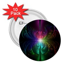 Anodized Rainbow Eyes And Metallic Fractal Flares 2 25  Buttons (10 Pack)