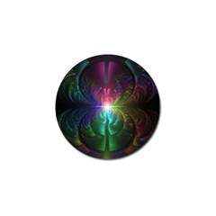 Anodized Rainbow Eyes And Metallic Fractal Flares Golf Ball Marker