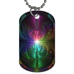 Anodized Rainbow Eyes And Metallic Fractal Flares Dog Tag (two Sides)