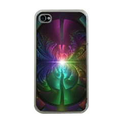 Anodized Rainbow Eyes And Metallic Fractal Flares Apple Iphone 4 Case (clear)