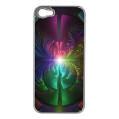 Anodized Rainbow Eyes And Metallic Fractal Flares Apple Iphone 5 Case (silver)
