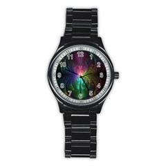 Anodized Rainbow Eyes And Metallic Fractal Flares Stainless Steel Round Watch