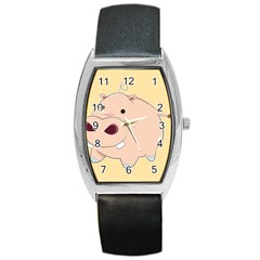 Happy Cartoon Baby Hippo Barrel Style Metal Watch