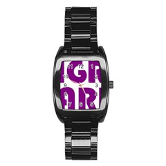 Migraine Warrior With Ribbon Stainless Steel Barrel Watch