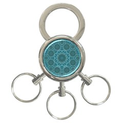 Wood And Stars In The Blue Pop Art 3 Ring Key Chains