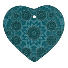 Wood And Stars In The Blue Pop Art Heart Ornament (two Sides)