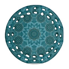 Wood And Stars In The Blue Pop Art Ornament (round Filigree)