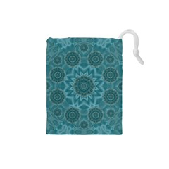 Wood And Stars In The Blue Pop Art Drawstring Pouches (small)