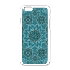 Wood And Stars In The Blue Pop Art Apple Iphone 6/6s White Enamel Case