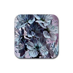Wonderful Silky Flowers B Rubber Square Coaster (4 Pack)
