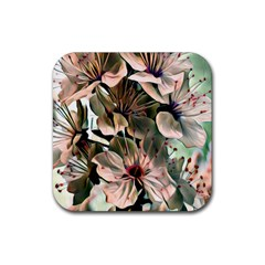 Wonderful Silky Flowers C Rubber Square Coaster (4 Pack)