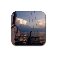 Sailing Into The Storm Rubber Square Coaster (4 Pack)