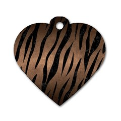 Skin3 Black Marble & Bronze Metal (r) Dog Tag Heart (one Side)