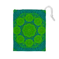 Summer And Festive Touch Of Peace And Fantasy Drawstring Pouches (large)