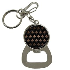 Royal1 Black Marble & Bronze Metal (r) Bottle Opener Key Chain