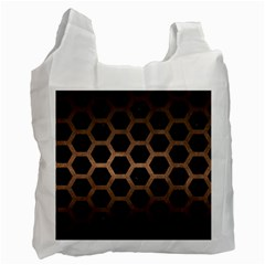 Hexagon2 Black Marble & Bronze Metal Recycle Bag (one Side)