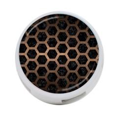 Hexagon2 Black Marble & Bronze Metal 4 Port Usb Hub (two Sides)