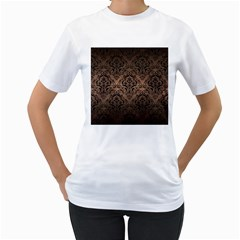 Damask1 Black Marble & Bronze Metal (r) Women s T Shirt (white)