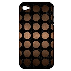 Circles1 Black Marble & Bronze Metal Apple Iphone 4/4s Hardshell Case (pc+silicone)