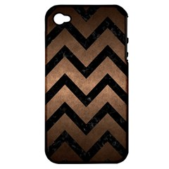 Chevron9 Black Marble & Bronze Metal (r) Apple Iphone 4/4s Hardshell Case (pc+silicone)