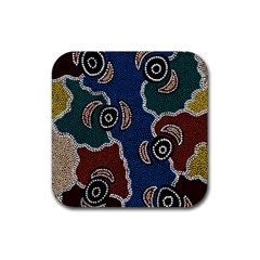 Aboriginal Art   Riverside Dreaming Rubber Square Coaster (4 Pack)