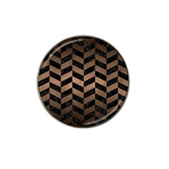 Chevron1 Black Marble & Bronze Metal Hat Clip Ball Marker (10 Pack)
