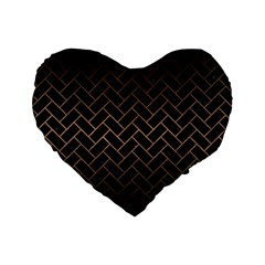 Brick2 Black Marble & Bronze Metal Standard 16  Premium Flano Heart Shape Cushion