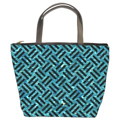 Woven2 Black Marble & Blue Green Water (r) Bucket Bag