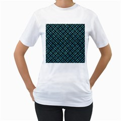 Woven2 Black Marble & Blue Green Water Women s T Shirt (white)
